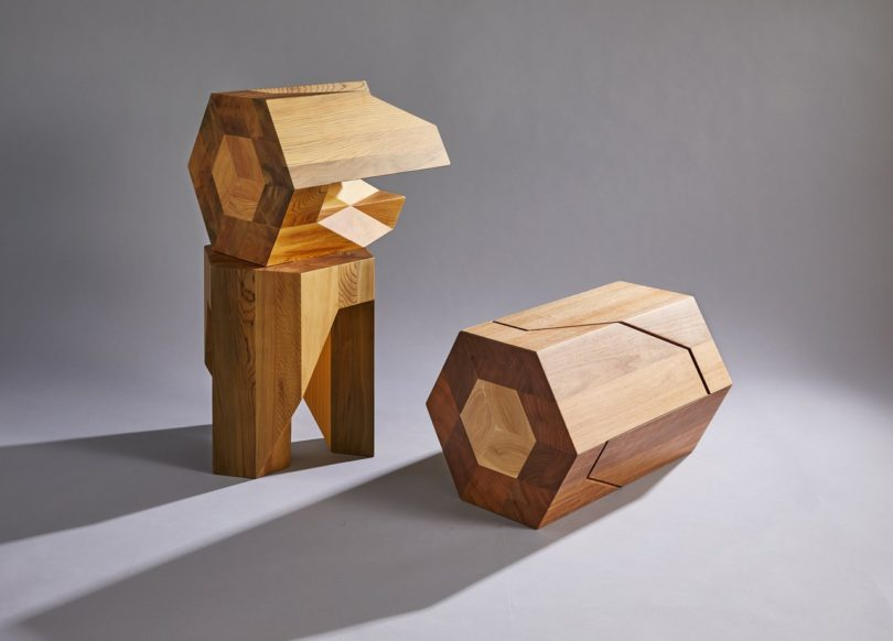 Yosegi Japanese Nesting Pair Stools by TAMEN