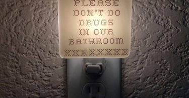 Please Don't Do Drugs in Our Bathroom Cross Stitch Night Light