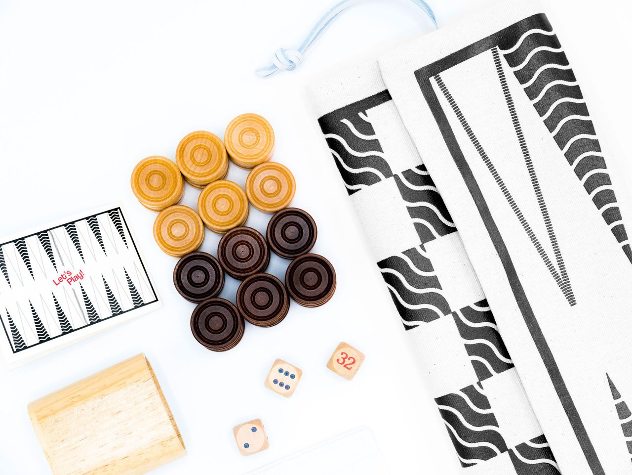Double-Sided Backgammon & Checkers Game-Bag Set: Classic Ink Waves