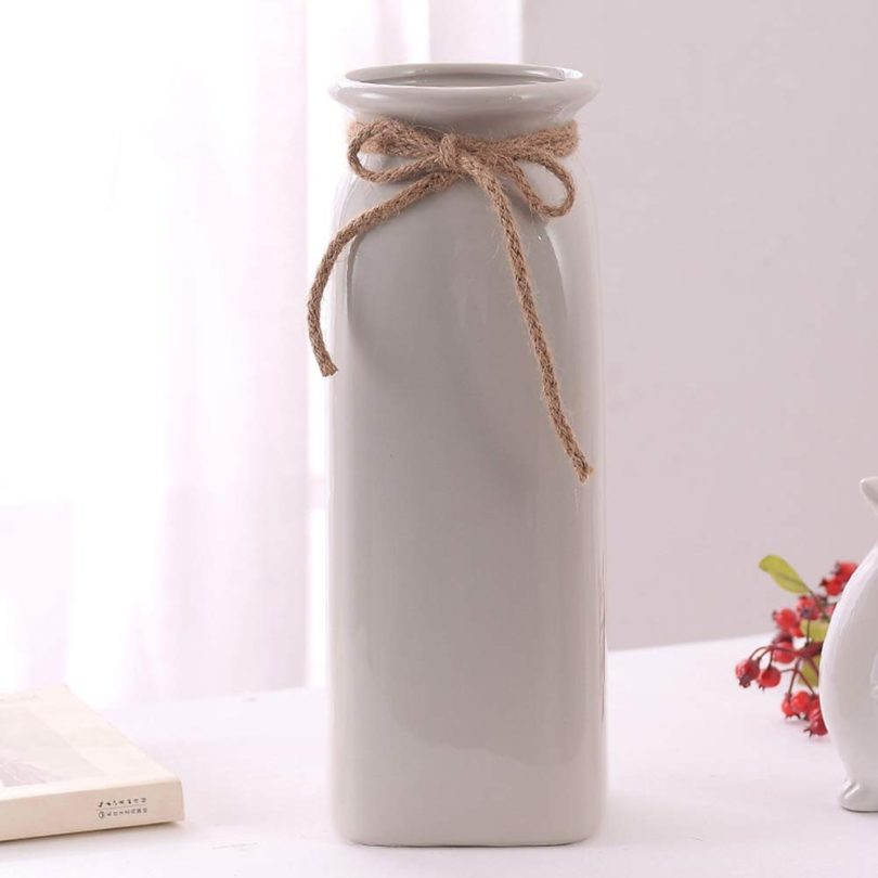Lannmart Modern Matt Ceramic Vase Home Decor Porcelain Glazed Hemp Rope Flower Vases Wedding Decoration