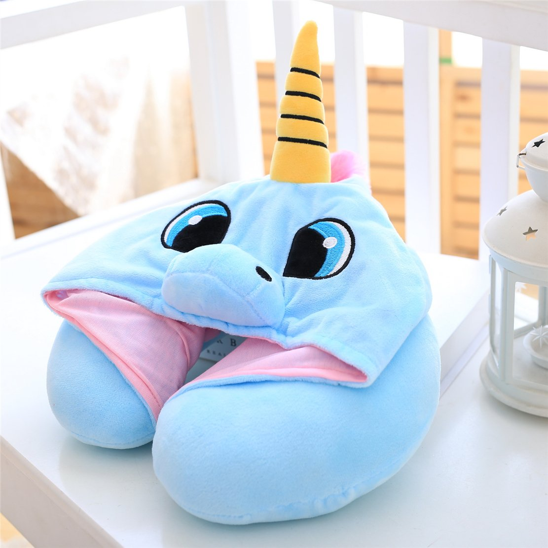 Travel Neck Pillow – Cute Blue Unicorn