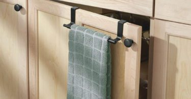 mDesign Adjustable, Expandable Kitchen Over Cabinet Towel Bar