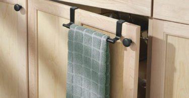 mDesign Adjustable, Expandable Kitchen Over Cabinet Towel Bar