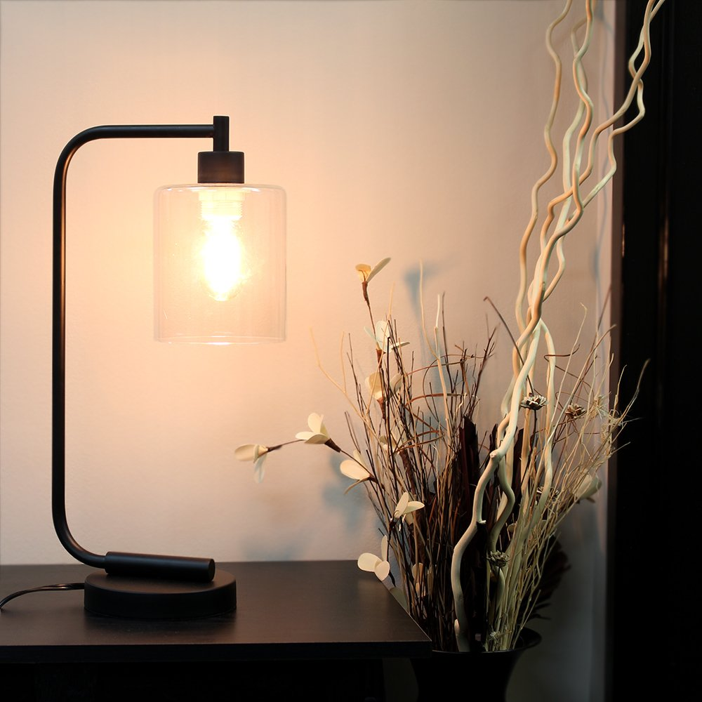 Simple Designs Home LD1036-BLK Industrial Iron Desk Lantern Lamp