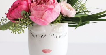 Ceramic Celfie Face Floral Vase in White