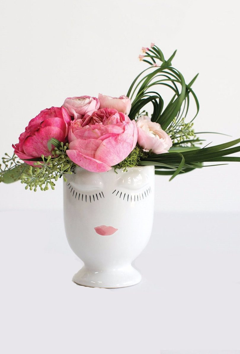 Ceramic Celfie Face Floral Vase in White