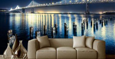 GMYANBZ 3D Wallpaper for Wall Custom Modern Bridge Riverside Night Scene