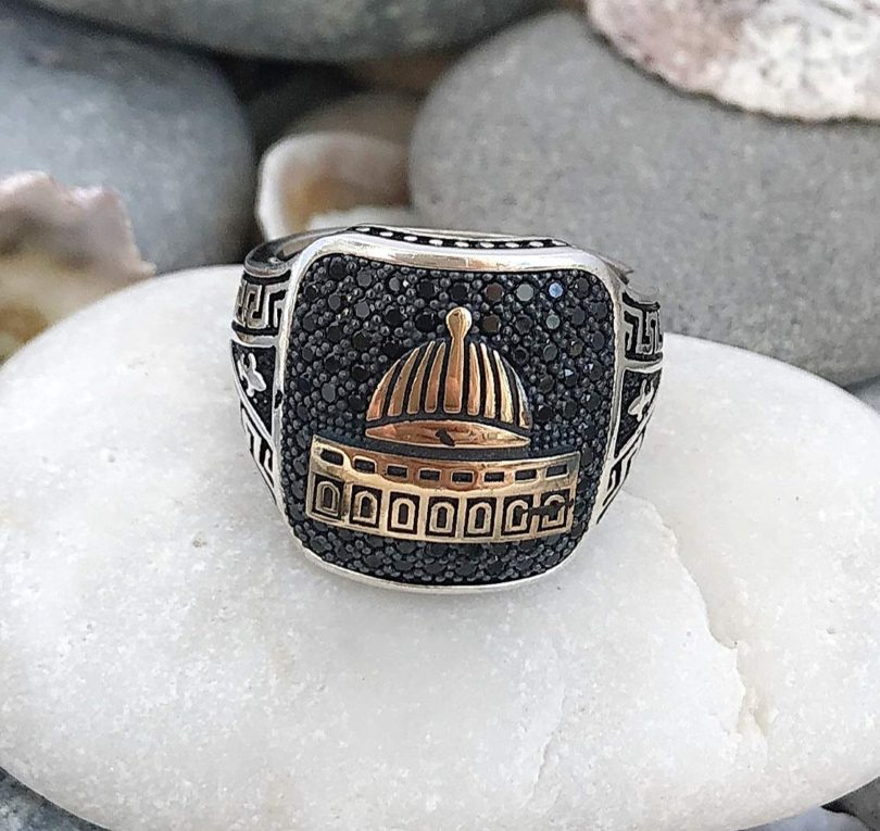 Silver Black Stone Ring