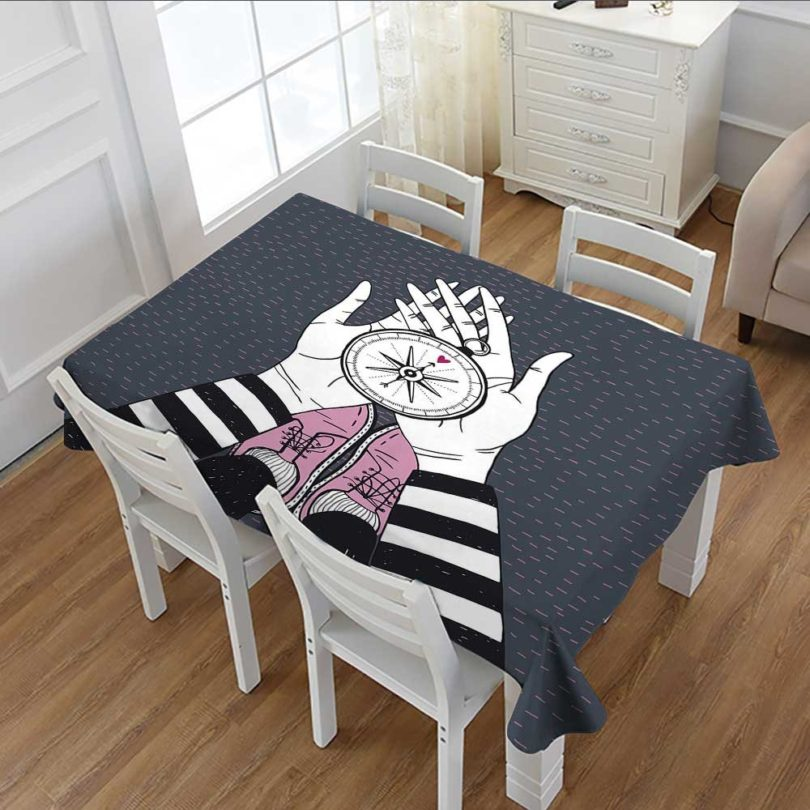 Compass Printed Tablecloth Searching for Love Girl Holding a Navigation Device