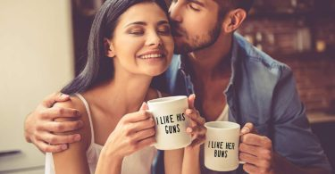 I Like His Guns, I Like Her Buns Couples Mug