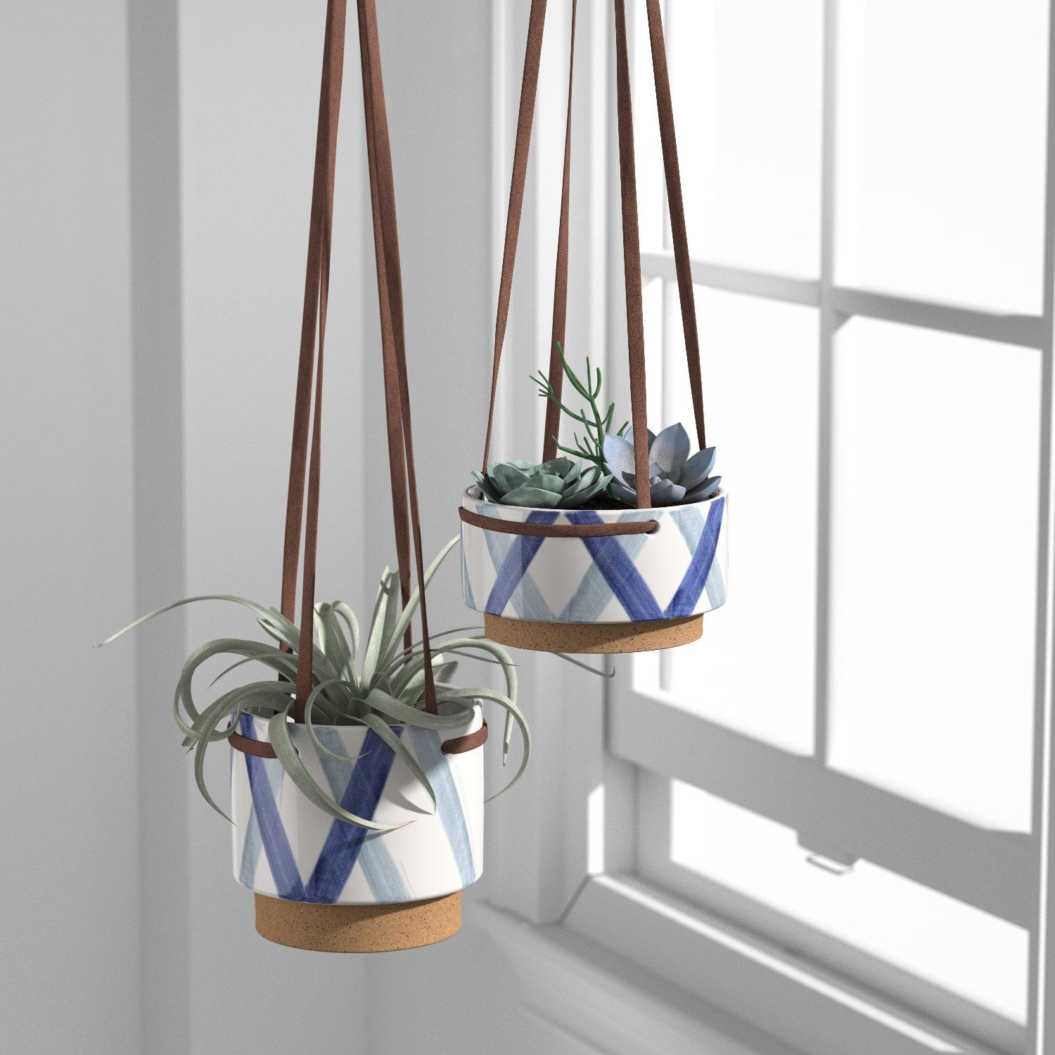Rivet Modern Ceramic Planter with Leather Strap, 3.5″H, Blue and Ivory