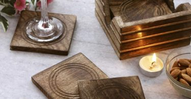 Indian Artisan Wooden Coasters for Drinks Set of 4 – 4 Inches