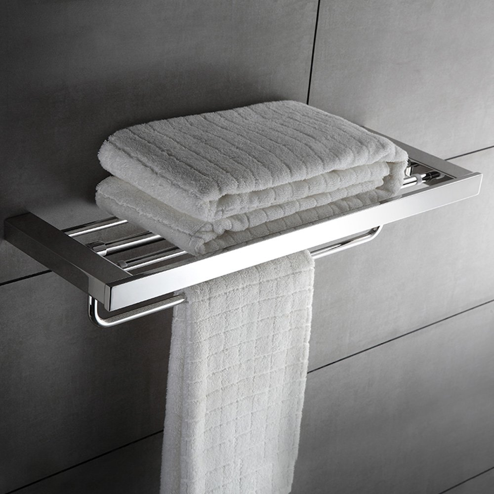 KOOLIFT Towel Rack Shelf with Single Fold-able Towel Bar