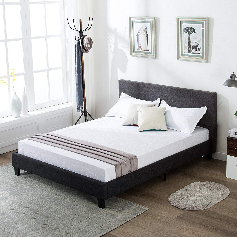 Mecor Upholstered Linen Platform Bed Frame