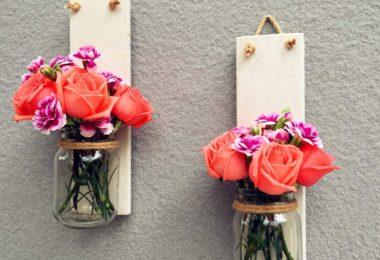 Wood Sconce Mason Jar Wall Vase