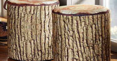 Cushioned Tree Bark Log Seat