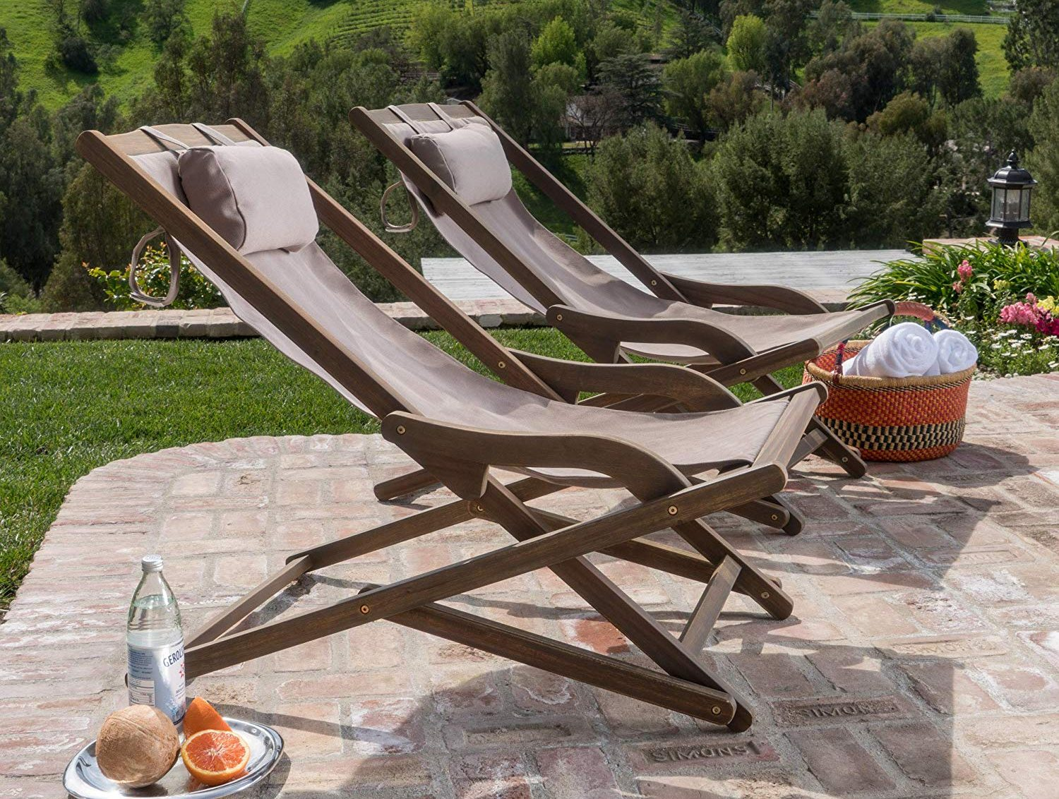 GDF Studio Northland Outdoor Wood and Canvas Sling Chair
