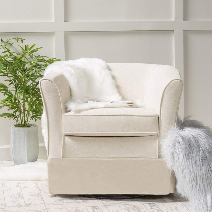 Cecilia Natural Fabric Swivel Chair with Loose Cover