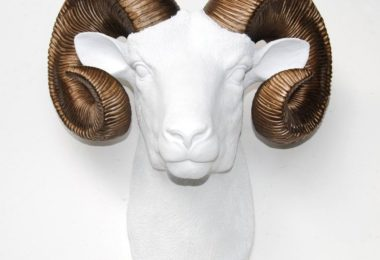 Faux Taxidermy White/Bronze Ram Head Wall Mount