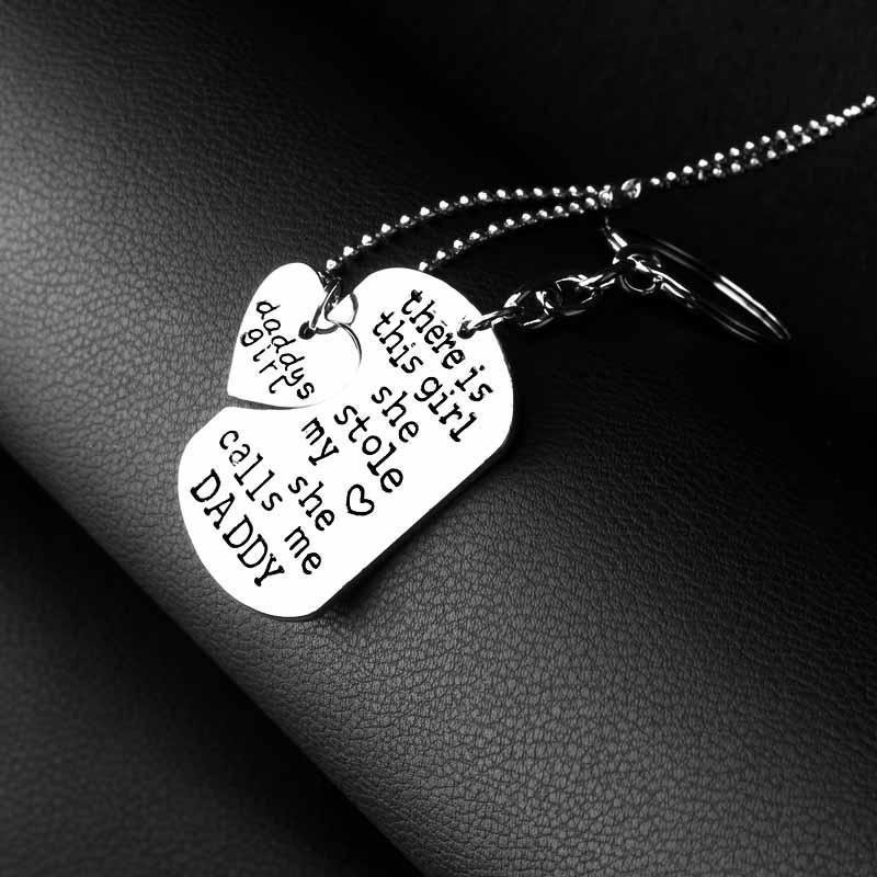 Daddy and Girl Necklace and Key Charm Set