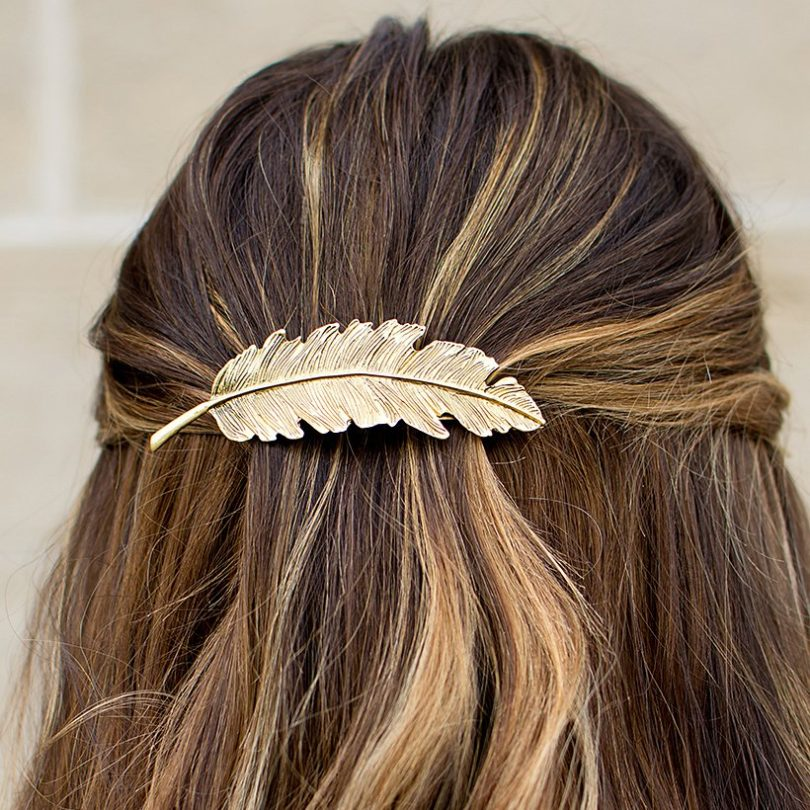 Metal Hairpin Tree Branch Alloy Feather Leaf Style Barrette Pin for Women