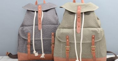 Large Front Pocket Draw String Canvas Backpack