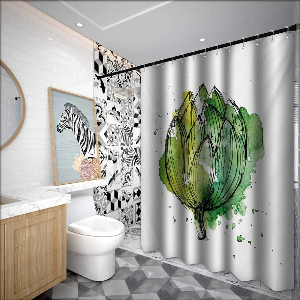 Artichoke Flower Shower Curtain Abstract Style Cardunculus Drawn