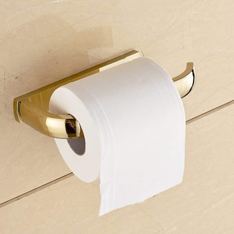 Leyden Gold Finish Half Open Toilet Roll Paper Rail Holder Wall Mounted Brass
