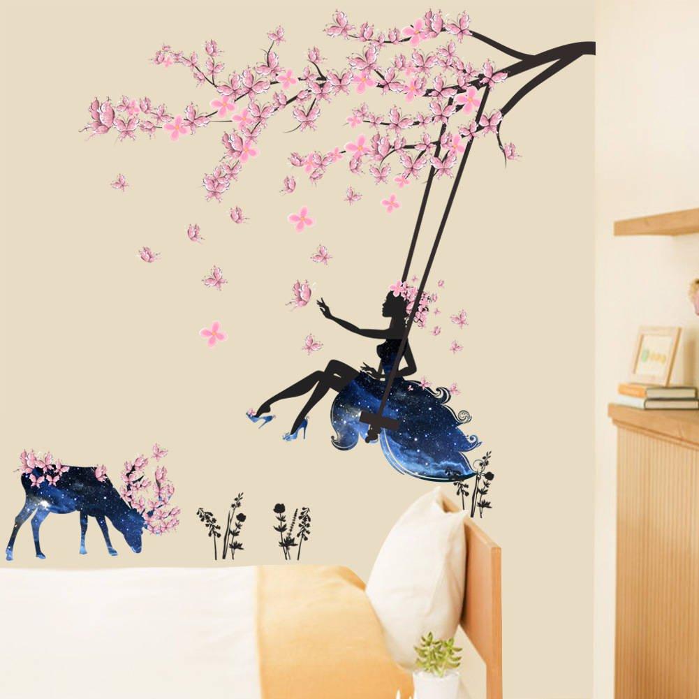 BIBITIME Tree Branch Blooming Plum Blossom Wall Art