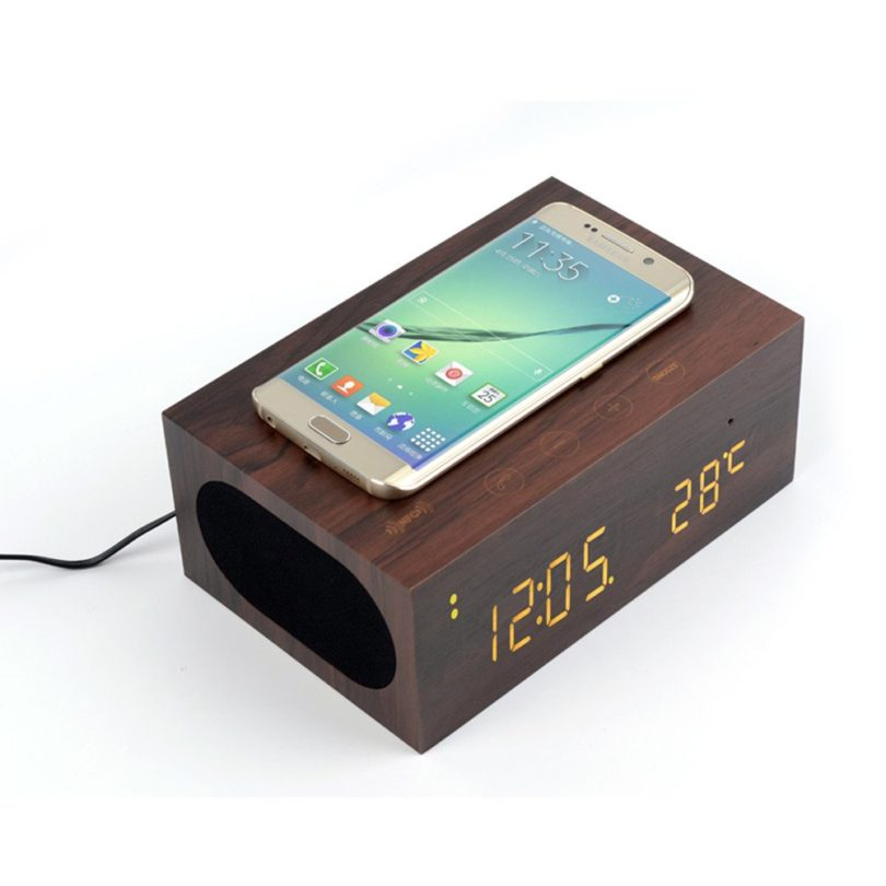 TuoP Wood Alarm Clock Qi Charger