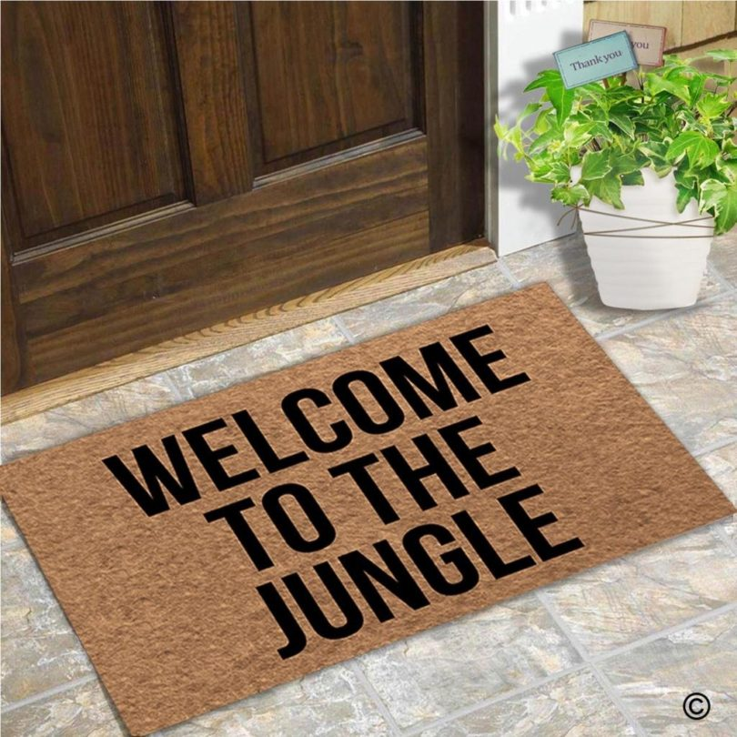 MsMr Door Mat Entrance Floor Mat Welcome to The Jungle Designed Funny Indoor Outdoor Doormat Non-Woven Fabric