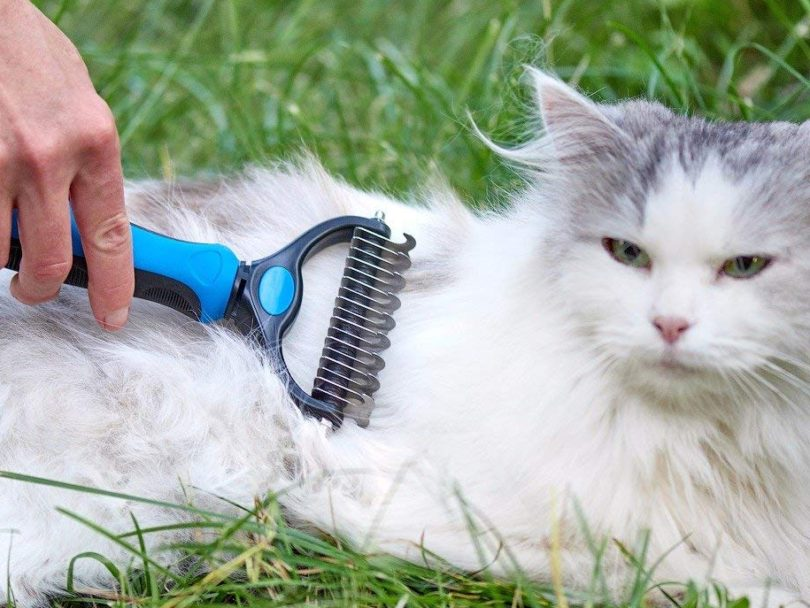 Pet Grooming Tool – 2 Sided Undercoat Rake for Cats & Dogs