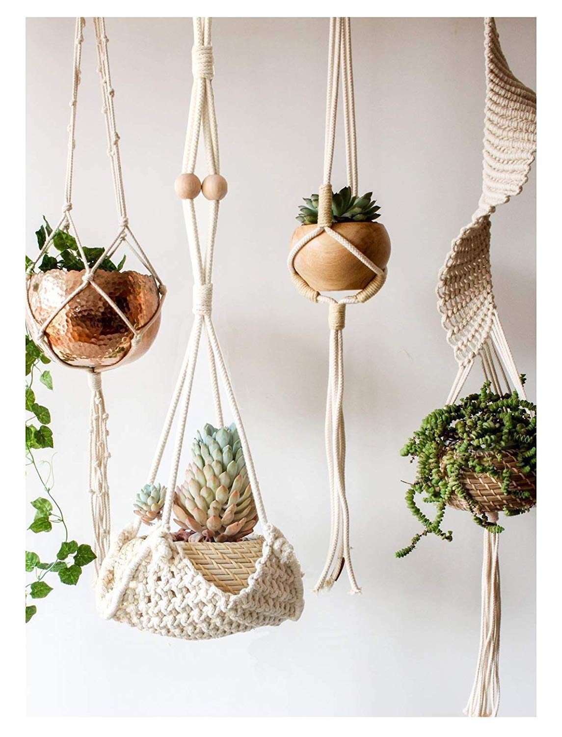 Flber Macrame Hanging Planter Home Décor Cotton Rope Handwoven