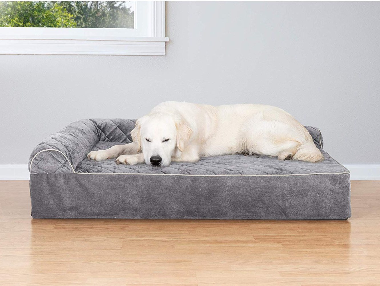 FurHaven Orthopedic Goliath Quilted Faux Fur & Velvet Chaise Couch Pet Bed