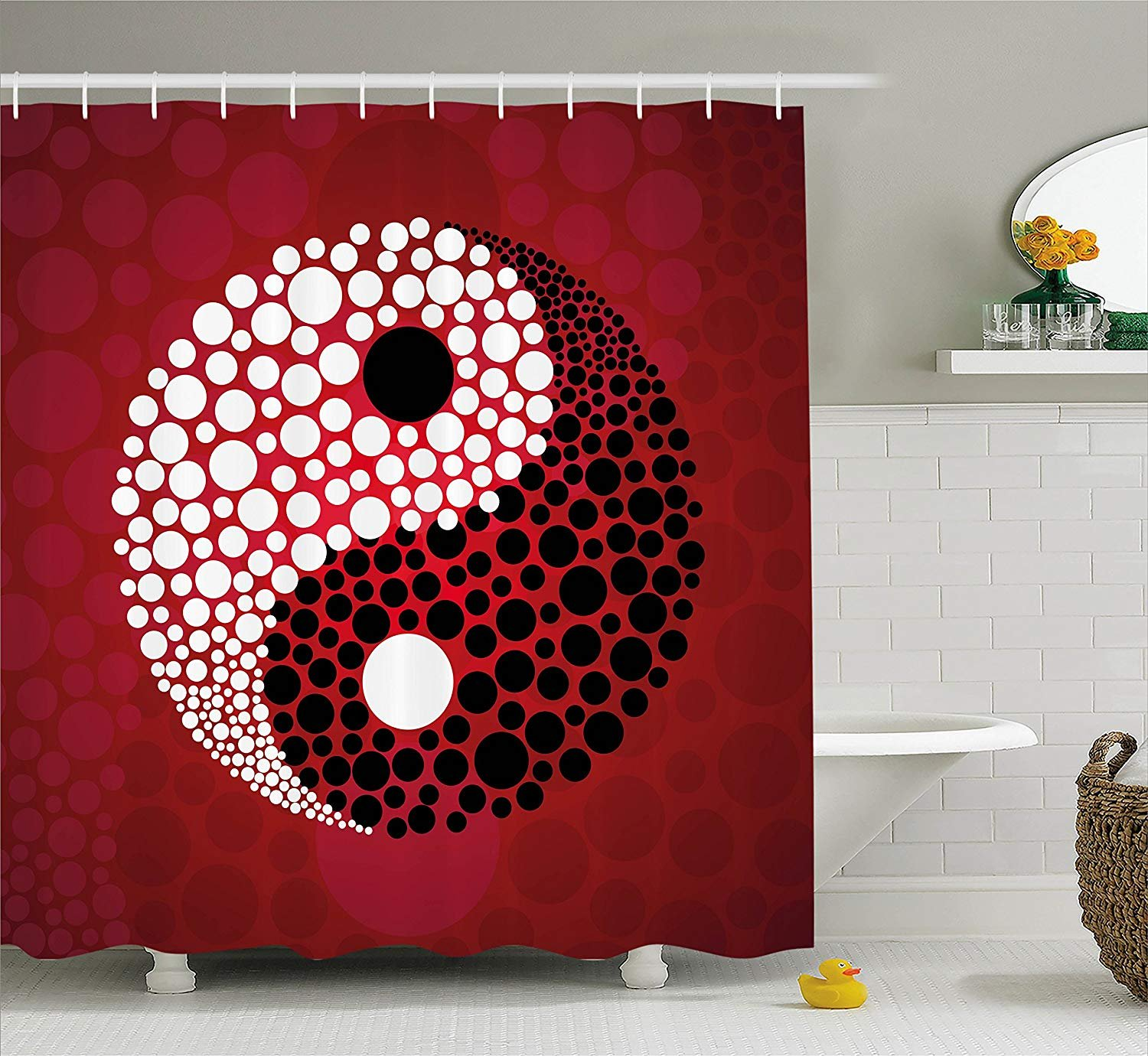 Jagfhhs Ying Yang Decor Shower Curtain Set Abstract Graphic