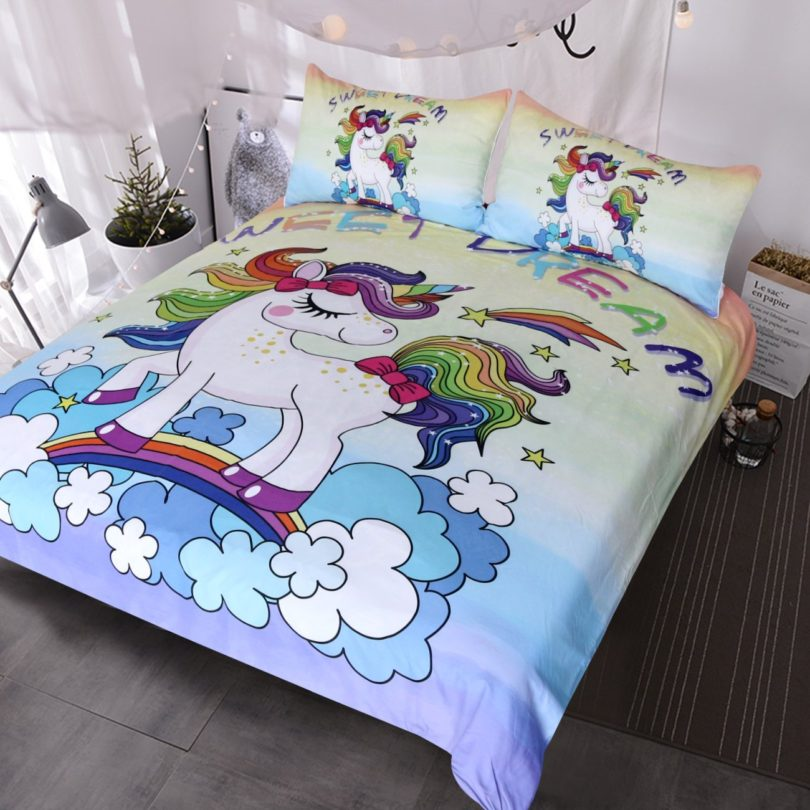 BlessLiving Unicorn Kids Bedding Duvet Cover Set