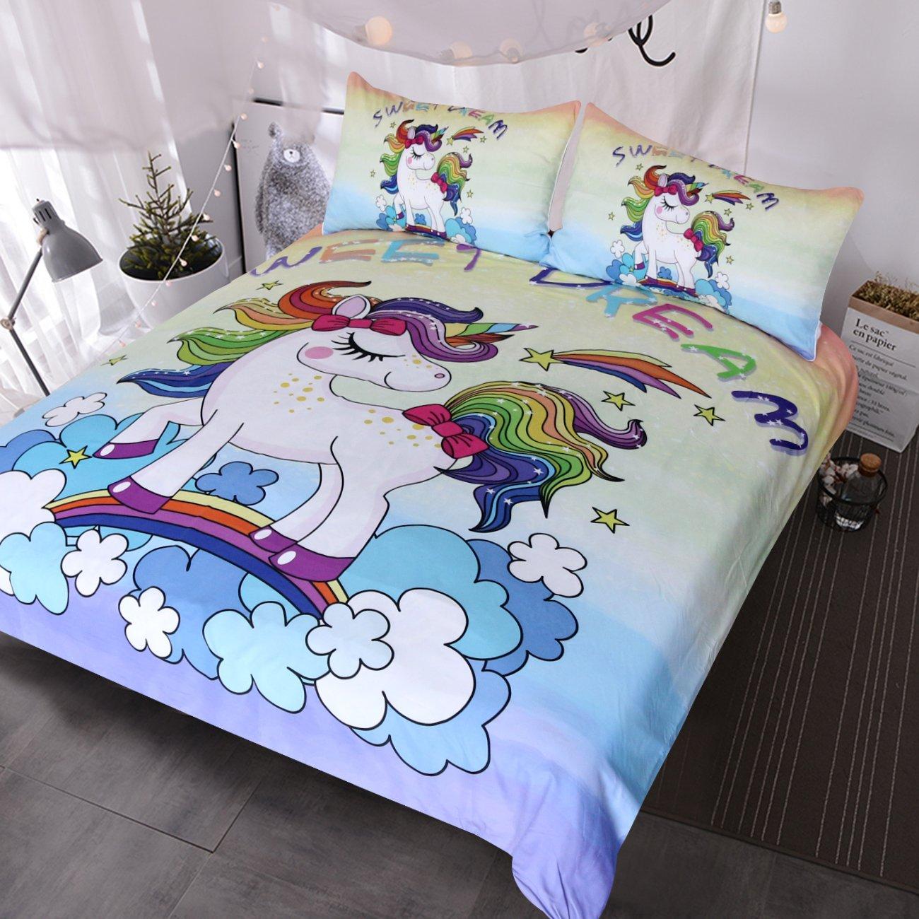BlessLiving Unicorn Kids Bedding Duvet Cover Set