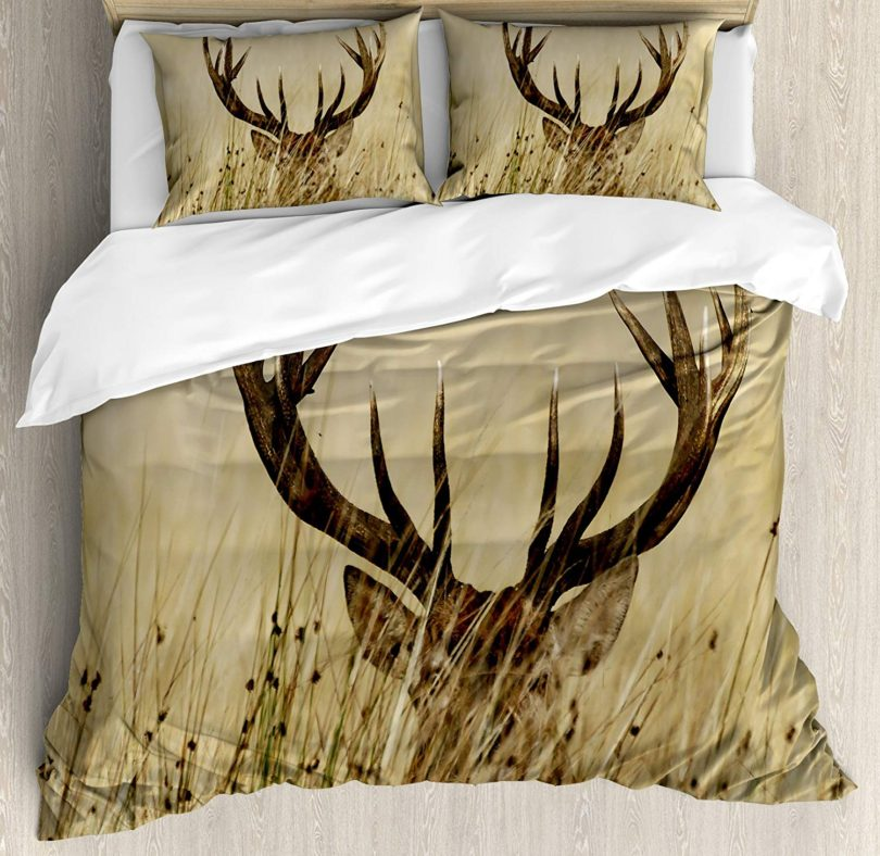 Antler Decor Queen Size Duvet Cover Set by Ambesonne