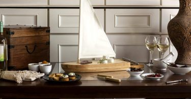 TOSCANA – a Picnic Time Brand Bamboo Sailboat Cheese Board and Tool Set