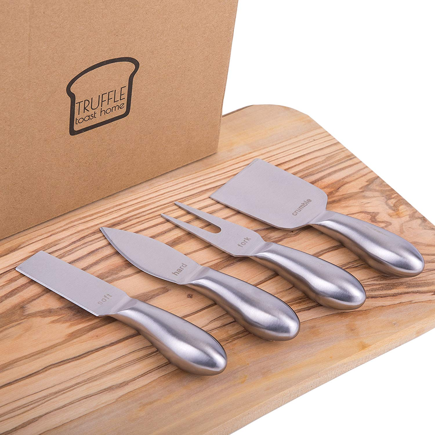 Modern 4-piece Set of Brushed Stainless Steel Cheese Knives