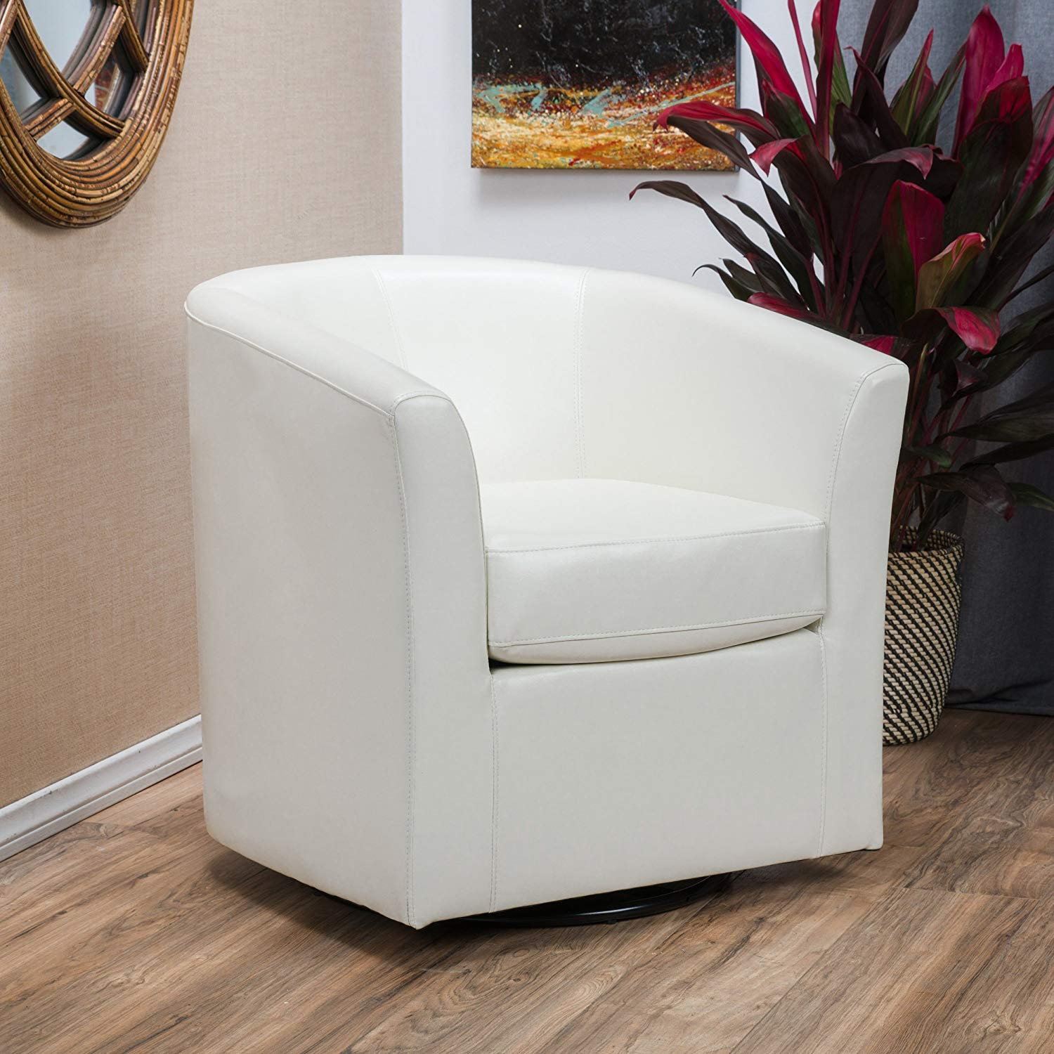 Christopher Knight Home 296639 Daymian Faux Leather Swivel Club Chair Ivory