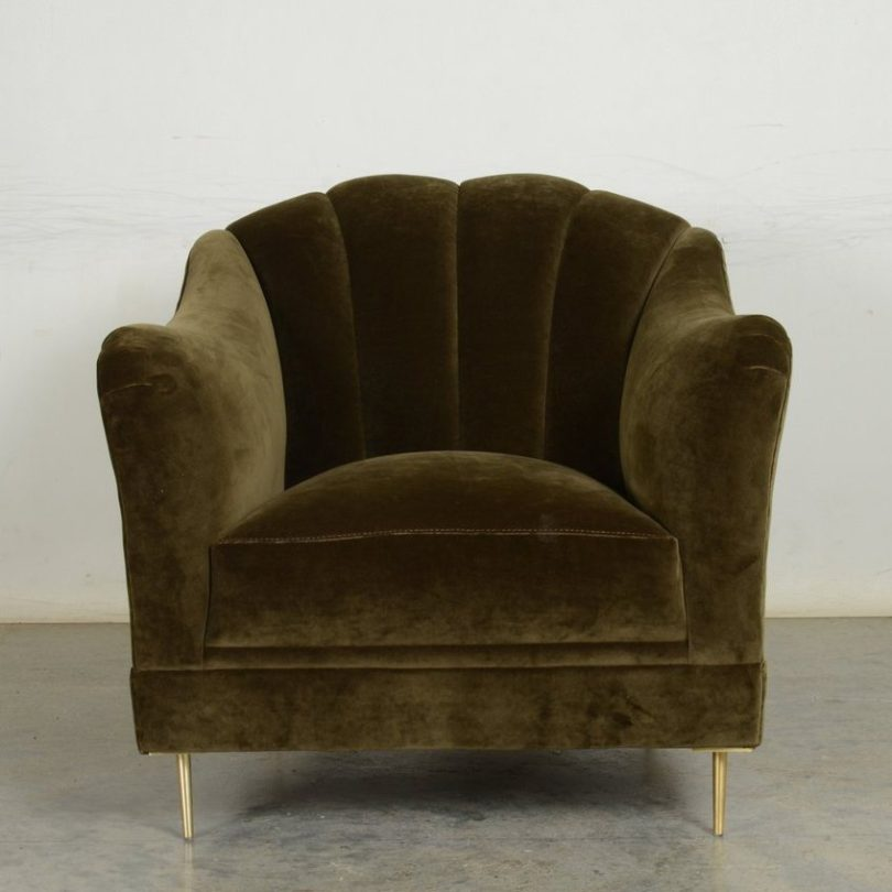 Olive Velvet Raleigh Chair by COCOCOHome