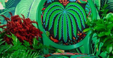 Beechwood Chair with Tropical Sanderson Fabric by Photoliu