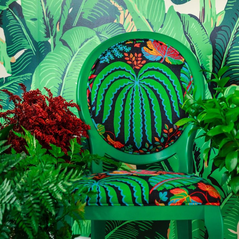 Beechwood Chair with Tropical Sanderson Fabric by Photoliu