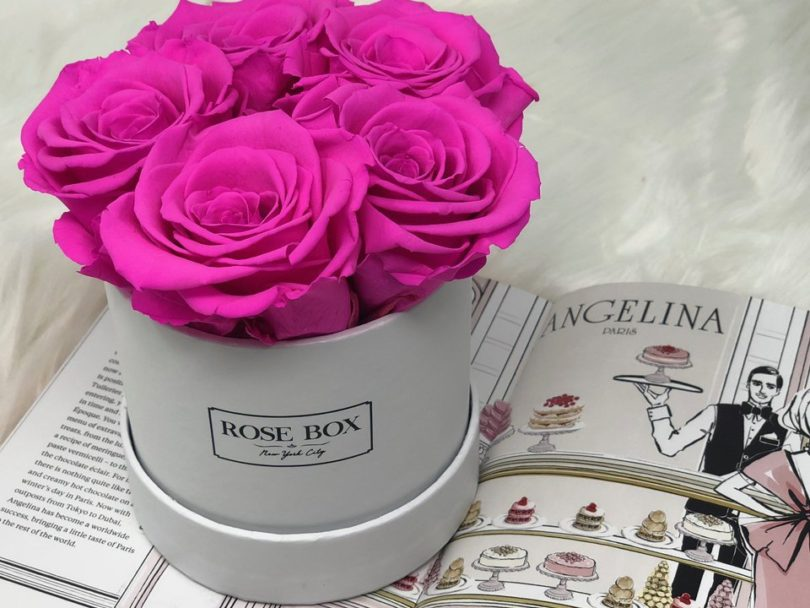 Mini White Box with Neon Pink Roses