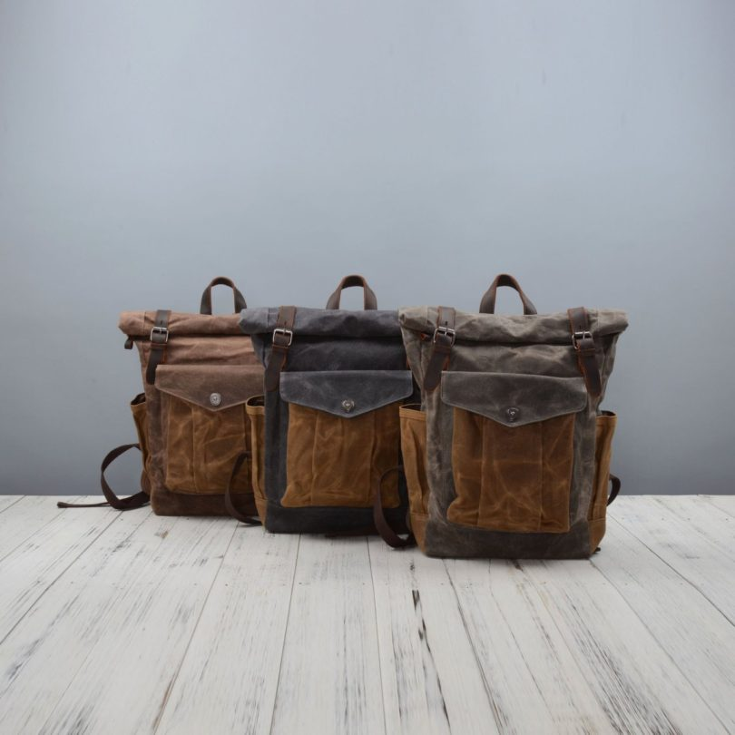 Contrast Pocket Waxed Canvas Backpack
