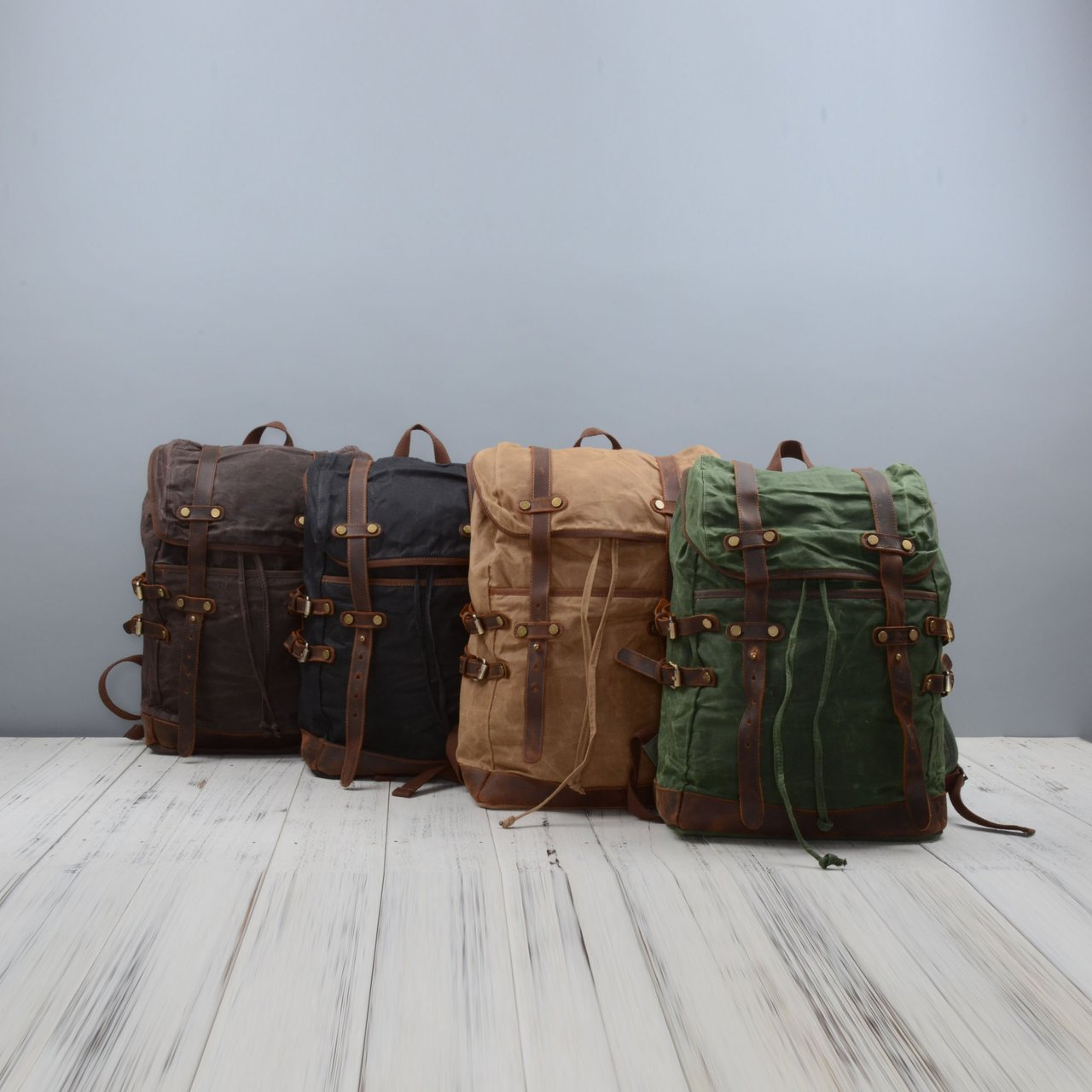 Straps Detail Waxed Canvas Backpack
