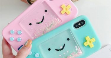 Cute Cartoon Gameboy Quicksand Glitter Liquid Phone Case