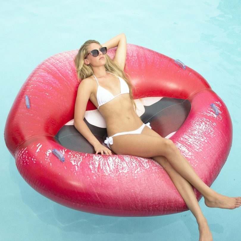 PoolCandy Luscious Lips Inflatable Swimming Pool Lounger