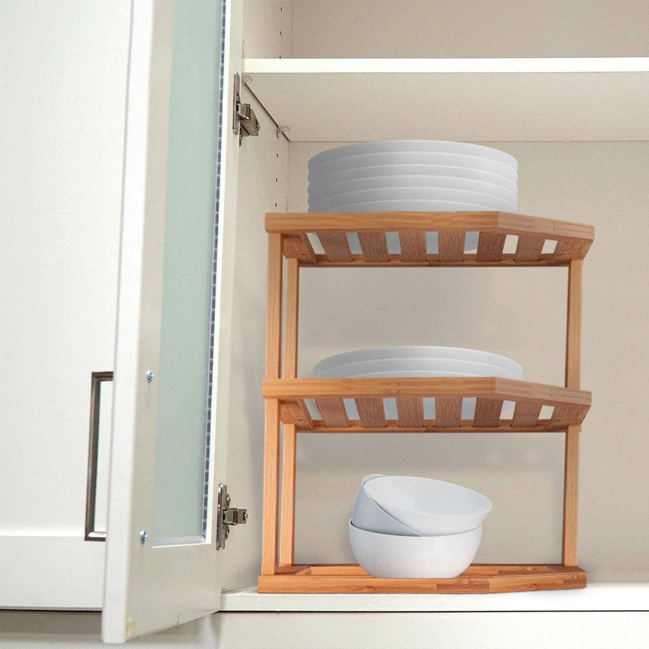 Natural Bamboo Corner Storage Shelf